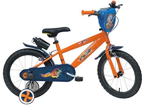 Mondo 25424, Toys-Bici MOD. Hot Wheels Misura rotelle e Freno Anteriore/Posteriore-Colore blu-25424 Unisex Bambino, Arancione/Blu, 14'