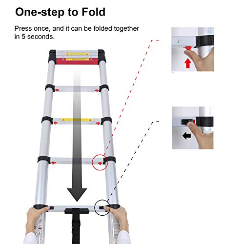 WolfWise 8.5FT Aluminum Telescoping Ladder, Collapsible Extension Ladder, 330lbs Max Capacity