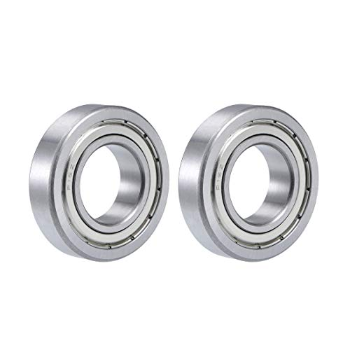"uxcell R16ZZ Deep Groove Ball Bearing 1""x2""x1/2"" Double Shielded Chrome Steel Bearings 2-Pack"