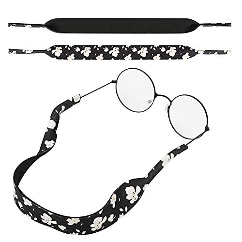 MoKo Correa de Gafas de Sol, [2 Paquetes] Cómodo y Suave Cuerda de Gafas de 100% Neopreno, Mantiene Sus Gafas de Seguridad ya Sea IR a Correr, Esquiar, Subir, Ver Concierto - Negro + Blanco Magnolia