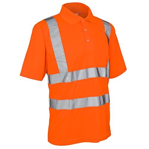 Warnshirt Warnschutz Polo-Shirt T-Shirt Hi-Viz Kurzarm gelb orange (Polo) (2XL, Orange)