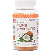 Organic Coconut Gummies 200mg - Gluten Free, Nutrient Rich Snack - 90 Count