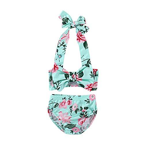 B¨¦b¨¦ Enfants Filles Belle Fleur Bowknot Bikini Set Maillots de Bain Summer Maillot de bains-80 (6-12M)