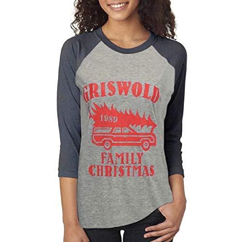 Luckycat Básico Camiseta de Patchwork Cuello Redondo para Mujer Tops Otoño Invierno...