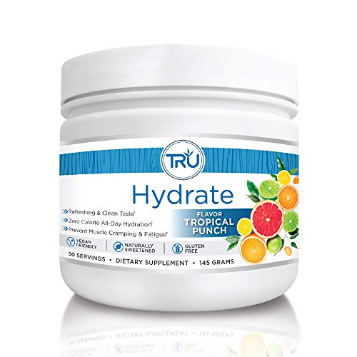 TRU Hydrate | Electrolyte Hydration Powder | Tropical Punch | 50 Servings | Sugar Free, 0 Calories, 0 Carbs - Perfect for Keto | No Artificial Flavors, Colors, or Sweeteners