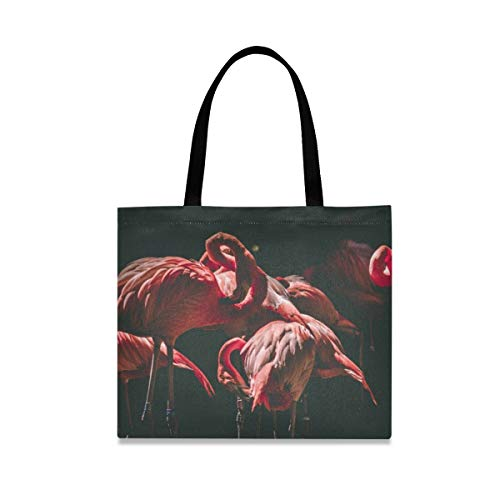 Red Fire Flamingo Reusable Shopping Tote Grocery Foldable Bag Portable Storage Shoulder Bags Handbags for Travel Women Girls