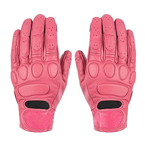 Pokem&Hent Guantes de cuero para motocicleta, estilo retro, para mujer, color rosa