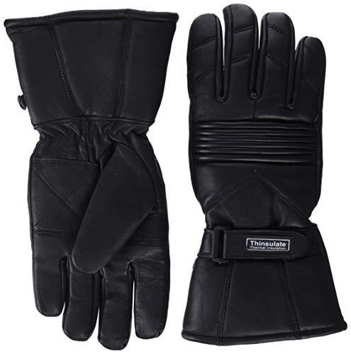 Gants de Moto pour l'hiver - Cuir/Thinsulate - imperméables/Thermiques - Homme - Noir - M