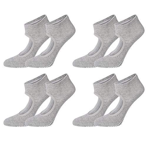 LXZH Calcetines de yoga para mujeres y hombres, antideslizantes sin dedos de los pies, ballet, pilates, barra, algodón peinado, paquete de 4, gris, L