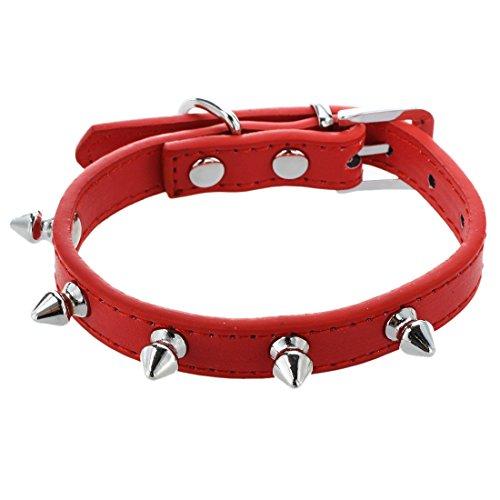 JVSISM Collar decuero de PU con Remache para Perro, Mascota Gato Rojo XS