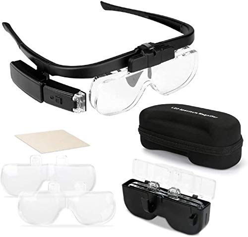 Intsun Head Mount Magnifying Glasses Hands Free Headband Eyeglasses Magnifier Rechargeable with 2 LED Lights, 3 Detachable Lenses 1.5X to 4.5X Zoom for Reading Watch Repair Jewelry Craft Hobby
