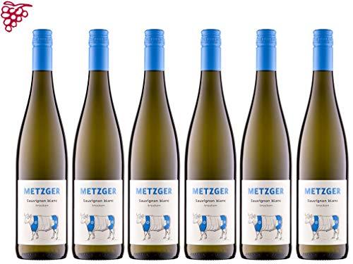 6 er Vorteilspaket Sauvignon Blanc trocken 2019   Weingut Metzger   Pfalz   6 x 0,75 l   mit Weinausgießer (Dropstop)