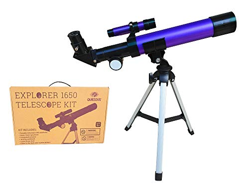 Qurious Space Kid's Explorer Telescope Gift Kit w Eco Carry Case 1650 | Children & Astronomy Beginners | Moon Travel Scope | Tabletop Tripod | Compass | Glow-in-The-Dark Stickers | Science Education