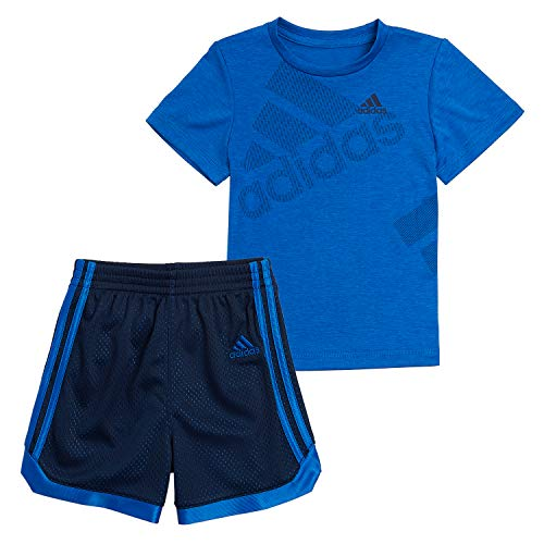 adidas Boys' Little Active Tee & Sport Shorts Clothing Set, BOS Navy/Blue, 7