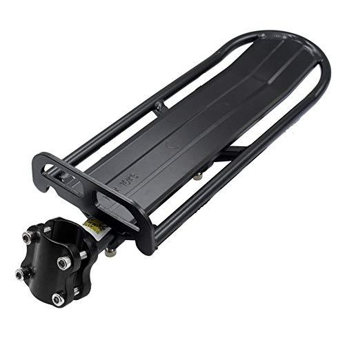 upain Estante trasero para bicicleta, soporte trasero plano retráctil para bicicleta de montaña con capacidad máxima de transporte de 10 kg, aleación de aluminio para equipaje (negro)