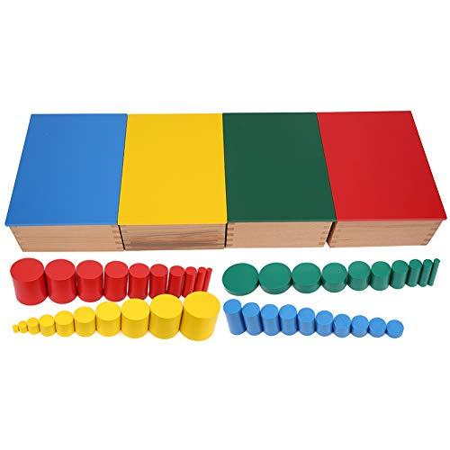 Juego de Juguetes de Cilindros de Madera, Juguete de EnseñAnza Sensorial para NiñOs Coloridos, Desarrollo Intelectual Preescolar, Regalo Perfecto de CumpleañOs/Navidad para NiñOs Bebé