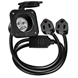 WELLUCK 15 Amp 125V AC Power Inlet Port Plug with Integrated Dual 18' Extension Cord, NEMA 5-15 RV Flanged Inlet with Waterproof & Back Cover Y Splitter Cable, 2 Pole 3-Wire Shore Power Plug for Boat