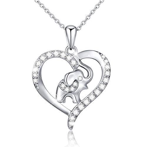 925 Sterling Silber Liebe Halskette Anhänger Kette Schmuck für Damen Frauen (Elefant 1)