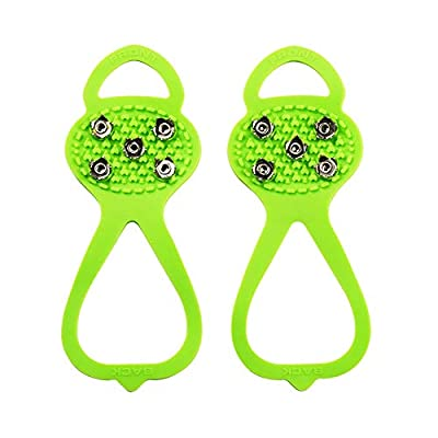 Milaloko 1 Pair (Kids' Size) Crampons,Traction Cleats,Spike for Winter Walking Safety,Shoe Grips on Ice?Snow for Children Girls and Boys,Kids' Size 8-10 (Green)