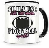 Samunshi® Taza de fútbol con texto en alemán 'Zuhause ist Football', regalo para fans del fútbol, taza de café grande, divertida para...