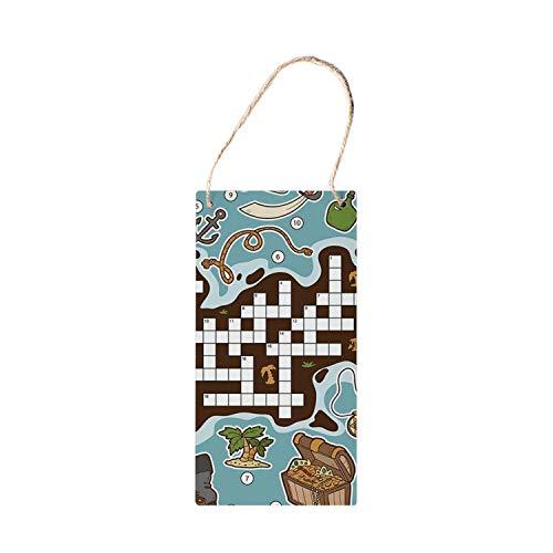 HNNT woord zoeken puzzel vintage opknoping houten teken, kinderen cartoon spel raster nummers het vinden van de juiste woorden piraat pictogrammen decoratieve fo hout teken 5x10 inch