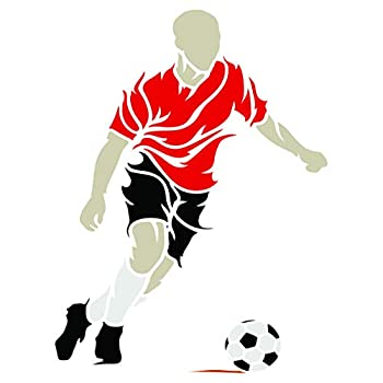 Soccer Stencil 10 x 14 inch  L  - Decorative Football Player Sport Wall Stencils for Painting Template