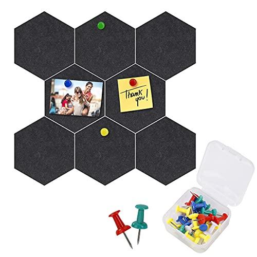 Tablones de Corcho, Fieltro Hexagonal Corcho Pared Autoadhesivo Tablero de Notas con 20 Pasadores de Empuje para Colgar Fotos, Casa, Oficina, Decoración de Paredes 8 Piezas 17.5 x 15.2 cm (Negro) 🔥