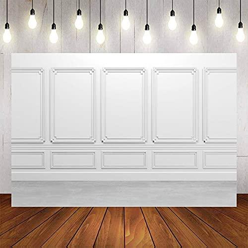 Fondo de fotografía Blanco Negro Pared Interior de la habitación Luz Retrato de bebé Fotografía de Boda Fondo de Pared Estudio fotográfico A11 9x6ft / 2.7x1.8m