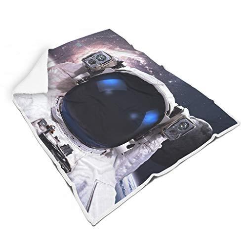 kikomia Fantasie Astronauten Mond Spiral Sterne Nebel Galaxis Universum Kunstwerk Druck Fleece Decke Werfen Jahrgang Picknick Werfen Lesen Erwachsene&Kleinkind White 150x200cm