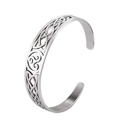 TEAMER Pulsera de nudo celta de acero inoxidable de plata con símbolo clásico, amuleto nórdico, joyería para mujeres y hombres
