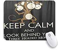 ECOMAOMI 可愛いマウスパッド 落ち着いて後ろを振り返る三頭猿の島プリント 滑り止めゴムバッキングマウスパッドノートブックコンピュータマウスマット