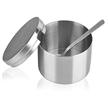 Arswin Sugar Bowl with Lid and Spoon Stainless Steel Sugar Bowl and Sugar Spoon Multi-Function Sugar Container Spice Container Salt Jar Condiment Bowls Sugar Jar for Kitchen Storage Organization