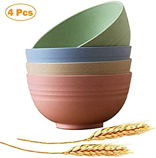 Lightweight Degradable Wheat Bowls Microwave Safe Bowl Sets 4 Pack 6 inch, Dishwasher Safety, Non-Toxin Eco-Friendly Cereal Bowls perfect for Soup,Cereal,Dessert and Salad