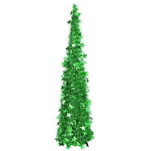 �rbol de Navidad con estrellas verdes tipo lentejuelas –120 cm PVC y metal
