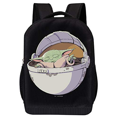 STAR WARS BLACK MANDALORIAN BACKPACK - STAR WARS 18 INCH AIR MESH PADDED BAG (The Child and the Force)