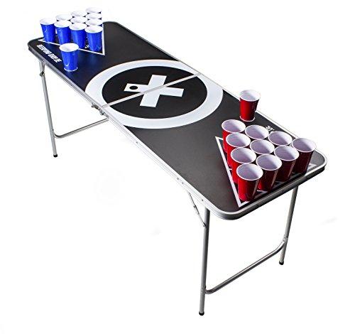 Beer Pong Tisch Set - Audio Table Design - 6 ft Beer Pong Table inkl. 6 Bälle, 50 Red Beer Cups und Regelwerk