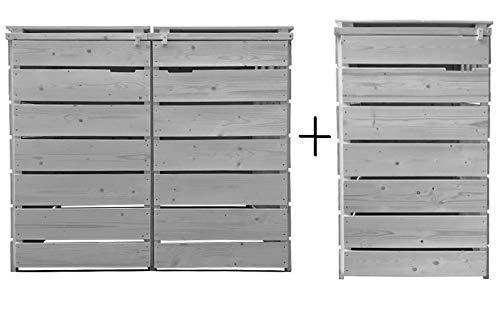 Fairpreis-design Mülltonnenbox Mülltonnenverkleidung 3 Tonnen Holz 120L - 240L hell-grau inkl. Rückwand vorimprägniert vormontiert Müllcontainer Mülltonne Mod.A