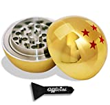 4 Star Golden Ball Herb Grinder - Herb & Spice Tool With BONUS Scraper - Anime Gifts - 3 Part Grinder, 2.2 Inches