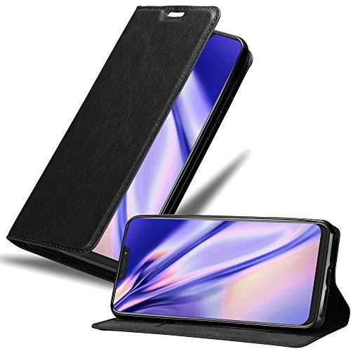 Cadorabo Hülle für Asus ZenFone 5Z in Nacht SCHWARZ – Handyhülle mit Magnetverschluss, Standfunktion & Kartenfach – Case Cover Schutzhülle Etui Tasche Book Klapp Style