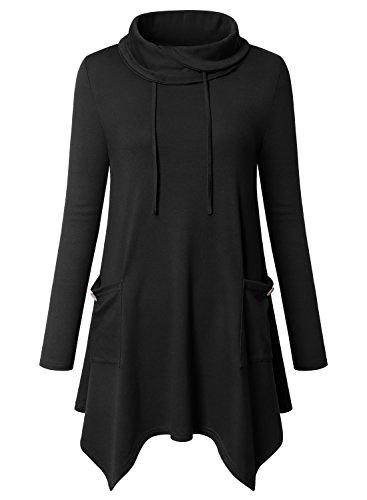 Amrto Damen Bluse Turtleneck Asymmetrische Saum Langarm Tops Lange Hemd Pullover Tunika mit Taschen, Schwarz M