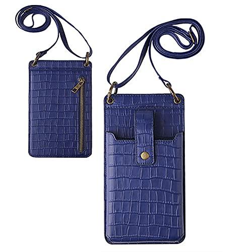 JHYQ Posh Crossbody - Bolso bandolera para teléfono móvil, cartera de embrague para mujer, Talla única, Azul / Patchwork