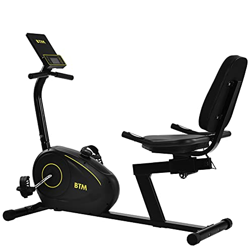 belupai Recumbent Exercise Bike, Indoor Cardio Trainer with 8 Level Adjustable Magnetic Resistance, Pulse Sensor, LED Monitor, 3 Preset Programs, Bluetooth Free App, Phone Holder, for home/office use