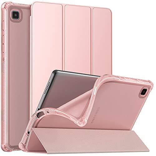 MoKo Funda Compatible con Samsung Galaxy Tab A7 Lite 8.7-Inch 2021 Tableta(SM-T225/SM-T220), Cubierta Protectora Plegable Delgada TPU Trasera Transparente con Soporte Triple, Oro de Rosa