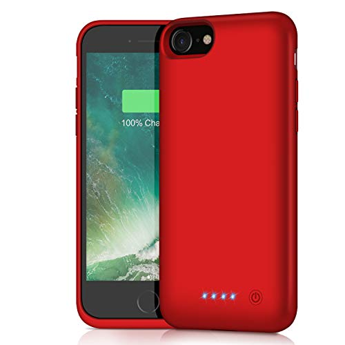 Battery Case for iPhone 8/7/6s/6/SE(2020),[6000mAh] Protective Portable Charging Case Rechargeable Charger Case Extended Battery Pack for Apple iPhone 8/7/6s/6/SE(2020) (4.7inch)-Red