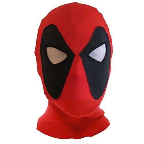 keland Deadpool Maske Lycra Spandex Kopfbedeckung Kapuze Kostüm Halloween Cosplay Party Zubehör (Rot)