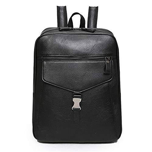 MSF-Des sacs Sac À Dos en Cuir PU Hommes Et Femmes Retro Large Capacity Student Bag Simple Voyage Sac À Dos Casual Computer Bag (Color : Noir)