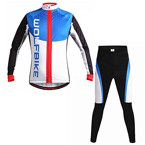 Set da ciclismo da uomo a maniche lunghe iisport Radanzug imbottita ciclisti altamente elasticizzato traspirante ad asciugatura rapida