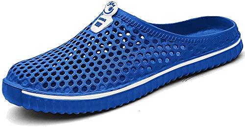 BIGU Hausschuhe Pantoffeln Atmungsaktiv Home Slipper Clogs Mesh Sommer Hohl Latschen Gartenschuhe Freizeit Badeschuhe Strand Aqua Slippers Flach Beach Wasser Schuhe Damen Herren, Blau, 40 EU