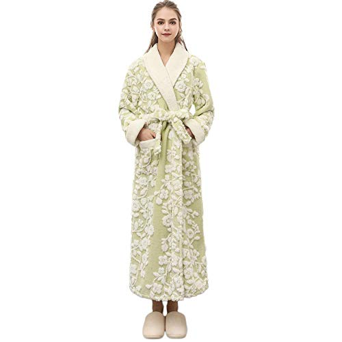 VJGOAL Mujeres Invierno Moda Casual Imprimir Alargada Bata cálida Coralline Felpa Chal con Cordones Albornoz de Manga Larga túnica Abrigo Pijamas(Medium,Verde)