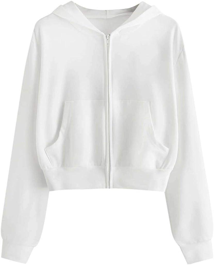 Hoodies For Women Crop Hoodies Women'S Zip-Up Pullover Long Sleeve Cropped Sweatshirts Crop Tops Short Hoodies